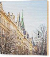 Buildings In Prague Wood Print
