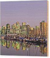 Buildings Lit Up At Dusk, Vancouver Wood Print