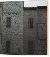 Buildings On A Side Street In Siena Wood Print