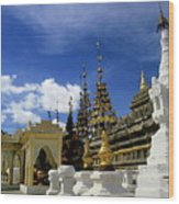 Built Structures Inside Shwezigon Pagoda Wood Print by Sami Sarkis