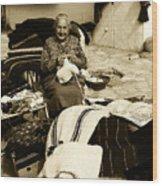 Bulgarian Market Lady Wood Print