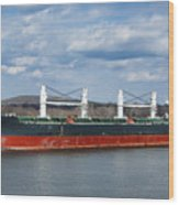 Bulk Carrier Cargo Ship Sailing On River Wood Print