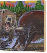 Bull And Bear Wood Print