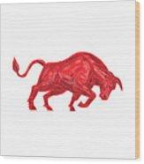Bull Charging Drawing Wood Print