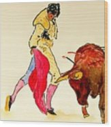 Bull Fighter Wood Print