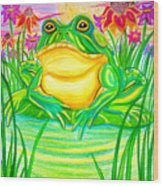 Bull Frog And The Moon Wood Print