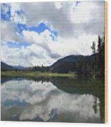 Bull Lake Cloud Reflection Wood Print
