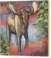 Bull Moose In Fall Wood Print
