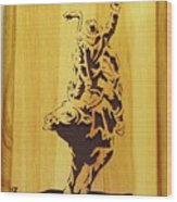 Bull-rider Wood Print by Russell Ellingsworth