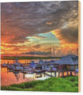 Bull River Marina Sunrise 2 Sunrise Art Wood Print