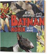 Bull Terrier Art Canvas Print - Batman Movie Poster Wood Print