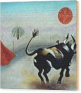Bull With Sun Wood Print