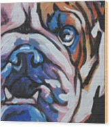 Bulldog Baby Wood Print