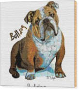 Bulldog Pop Art Wood Print