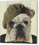 Bulldog Portrait, Animals In Clothes Wood Print
