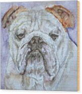 Bulldog - Watercolor Portrait.5 Wood Print