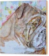 Bulldog - Watercolor Portrait.7 Wood Print