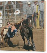 Bulldogging At The Rodeo Wood Print