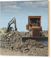 Bulldozer And Excavator On Road Construction Wood Print