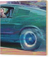Bullitt Mustang Wood Print by David Lloyd Glover