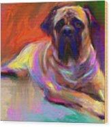 Bullmastiff Dog Painting Wood Print
