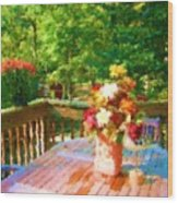 Bumble Deck Flowers Wood Print
