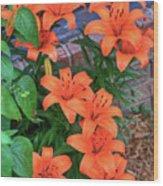 Bunch Of Orange Lilies Wood Print