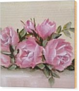 Bunch Of Pink Roses Painting Wood Print