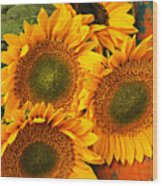 Bunch Of Sunflowers Wood Print