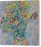 Bunch Of Wild Flowers In A Vase Wood Print