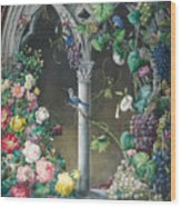Bunches Of Roses Ipomoea And Grapevines Wood Print