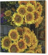 Bunches Of Sunflowers Wood Print