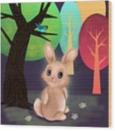 Bunny And Birdie Wood Print