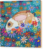 Bunny And Flowers Wood Print