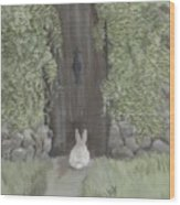 Bunny At The Gate Wood Print