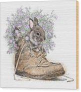 Bunny In Boot Wood Print