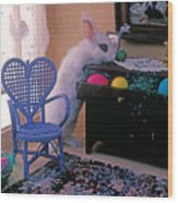 Bunny In Small Room Wood Print