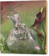 Bunny In The Lilies Wood Print