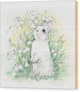 Bunny In White Wood Print