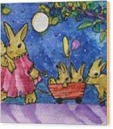 Bunny Parade Wood Print