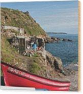 Bunty In Priest's Cove Cape Cornwall Wood Print