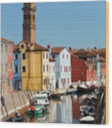 Burano An Island Of Multi Colored Homes On Canals North Of Venice Italy Wood Print
