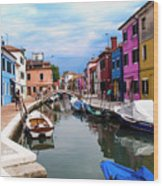 Burano Canal And Homes Wood Print