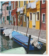 Burano Corner With Laundry Wood Print