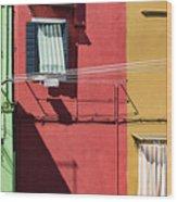 Burano Facade Wood Print
