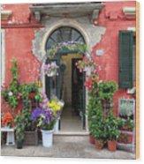 Burano Flower Shop Wood Print