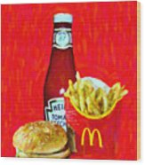 Burger Fries And Ketchup Wood Print by Wingsdomain Art and Photography