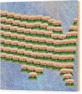 Burger Town Usa Map Wood Print