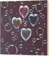 Burgundy Bubbles Wood Print