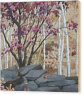 Burgundy On The Rocks Wood Print
